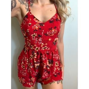 XS, Garage, ruby red and floral summer romper